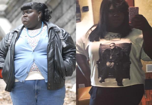 Gabourey Sidibe em Preciosa (2009) e em agosto de 2016 (Foto: Reprodução)