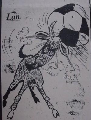 O Bode Gregório retratado em uma charge do O Dia, na década de 1960 (Foto: Arquivo Pessoal/Hugo Saraiva)
