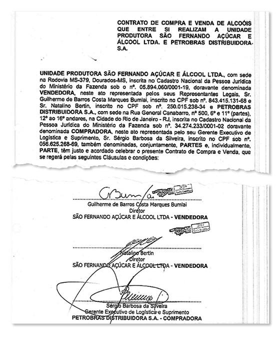 O FORNECEDOR Trecho de contrato entre a usina de Bumlai e a BR Distribuidora. O dinheiro era do BNDES (Foto: reprodução)
