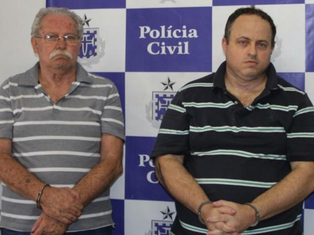 Empresários, pai e filho, de 65 e 40 anos, foram presos em Salvador (Foto: Divulgação/Polícia Civil)