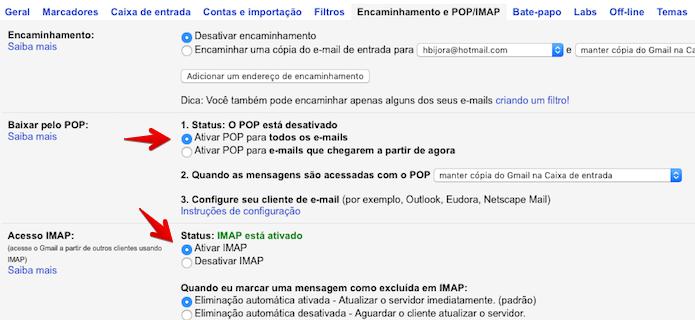 Ativando encaminhamento de e-mail por POP ou IMAP (Foto: Reprodução/Helito Bijora)