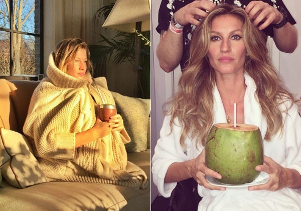 Gisele sempre posta fotos bebendo chimarrão e água de coco (Foto: Reprodução/Instagram)