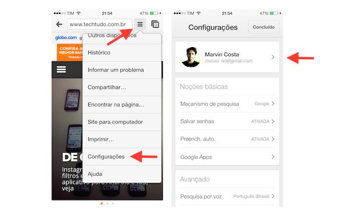 Acessando as configurações do Google Chrome em um dispositivo iOS (Foto: Reprodução/Marvin Costa)