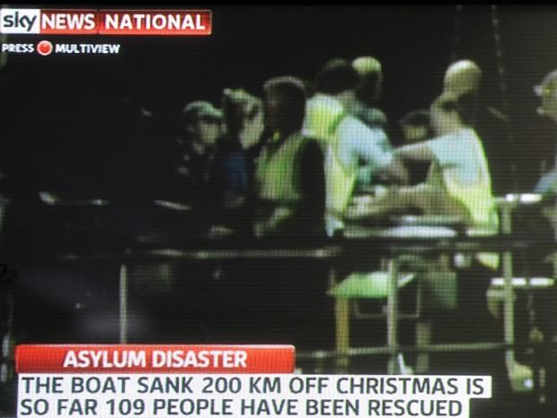 Austrália busca vítimas de naufrágio (Foto: Channel Seven/Sky News / AFP)