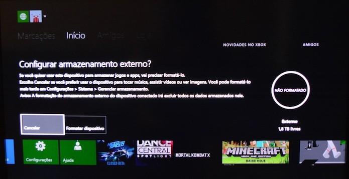 Formatar o HD WD My Passport X no Xbox One é rápido e fácil (Foto: Reprodução/Emanuel Schimidt)