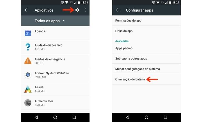 Acesso à ferramenta de otimização de bateria dos apps no Android (Foto: Reprodução/Raquel Freire)