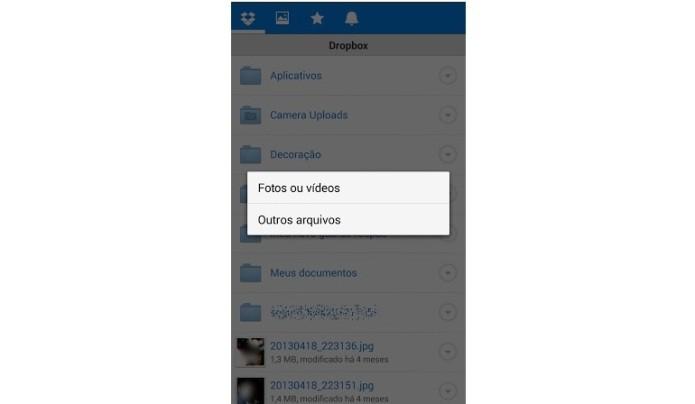Opções de envio de arquivo para o Dropbox (Foto: Reprodução/Lívia Dâmaso)