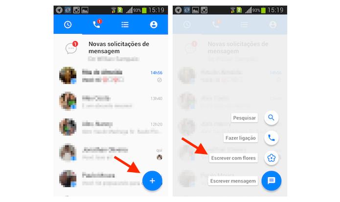 Iniciando o envio de uma mensagem com flores no Facebook Messenger para Android (Foto: Reprodução/Marvin Costa)