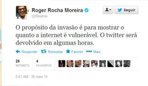 Conta de Roger, do Ultraje a Rigor, no Twitter foi invadida (Foto: Reprodução/Twitter)