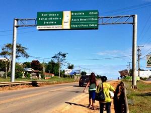 As cidades de Brasiléia e Epitaciolândia são vizinhas (Foto: Veriana Ribeiro/G1)