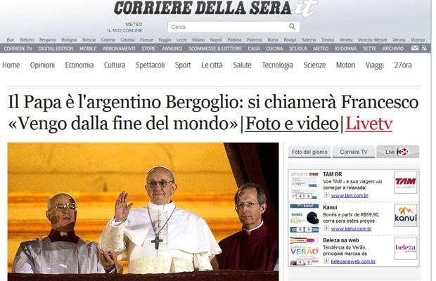 """Jornal italiano """"Corriere della Sera"""" destaca primeiro Para de fora da Europa (Foto: Reprodução)"""