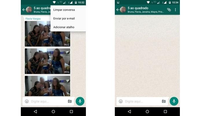Exclusão de conversa e fotos no WhatsApp (Foto: Reprodução/Raquel Freire)