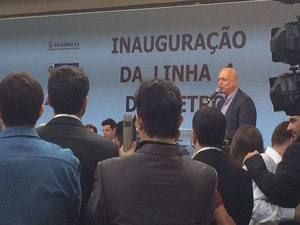 Pezão agradece a Dilma durante discurso de inauguração da Linha 4 (Foto: Daniel Silveira/G1)
