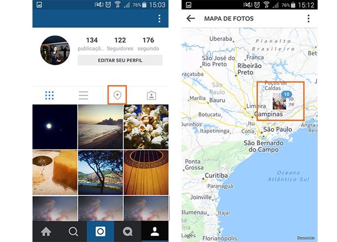 Mapa de Fotos do Instagram reúne imagens de mesma localização (Foto: Reprodução/Barbara Mannara)