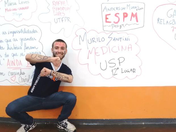 Murilo passou em 12º no curso de Medicina na USP de Ribeirão Preto  (Foto: Carol Malandrino/G1)
