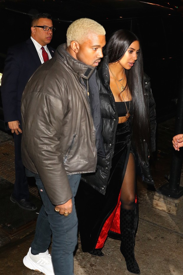 Kanye West e Kim Kardashian em Nova York, nos Estados Unidos (Foto: AKM-GSI/ Agência)