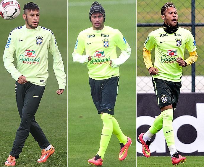 ed415500d6 Neymar deixa luvas e gorro de lado e encara frio em treino na ...