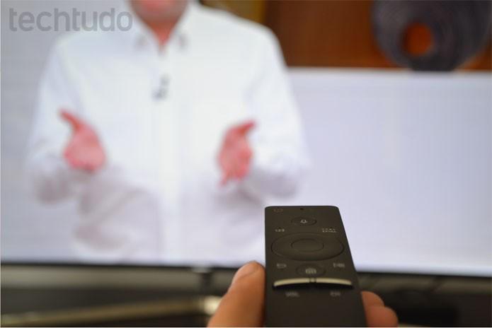 One Control, controle remoto da Samsung para a smart TV KS9000  (Foto: Melissa Cruz / TechTudo)