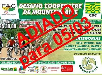 Desafio de Mountain Bike seria realizado neste domingo (26), no Parque Capitão Ciríaco, em Rio Branco, em oito categorias. Taxa de inscrição é de R$ 30 (Foto: FAC/divulgação)