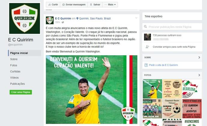 Washington Coração Valente time amador de Quiririm (Foto: Reprodução/Facebook)