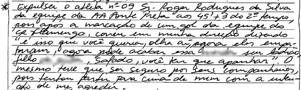 Súmula do árbitro do jogo entre Ponte Preta e Flamengo (Foto: Reprodução Site CBF)