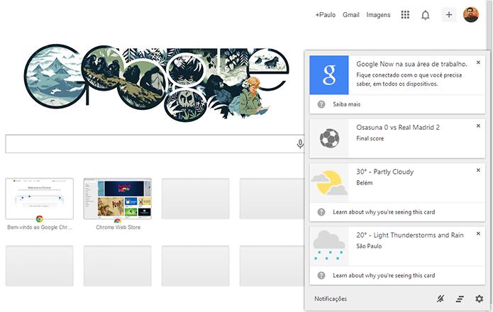 Cards do Google Now estão sendo testados no Canary, versão do Chrome para desenvolvedores (Foto: Reprodução/Paulo Alves) (Foto: Cards do Google Now estão sendo testados no Canary, versão do Chrome para desenvolvedores (Foto: Reprodução/Paulo Alves))