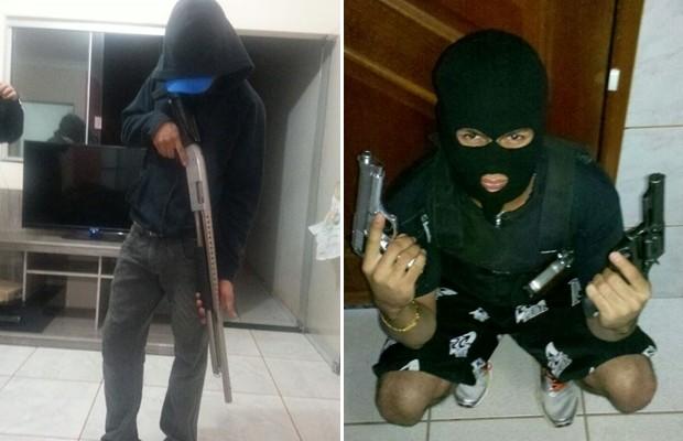 Presa quadrilha suspeita de roubar bancos que se exibia nas redes sociais em GOiânia, Goiás (Foto: Reprodução/TV Anhanguera)