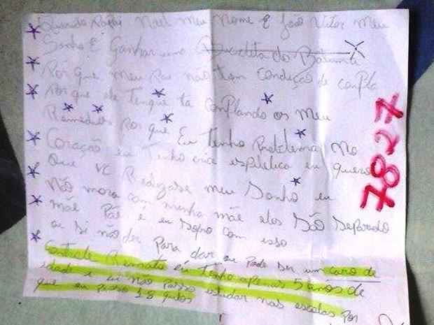 Pedido de menino com problemas de saúde emocionou leitora.  (Foto: Denise Castiglioni/VC no G1)