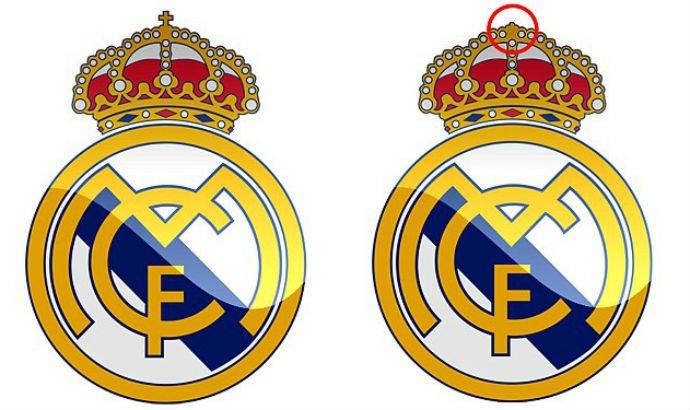 Comparação entre os escudos do Real Madrid com e sem a cruz