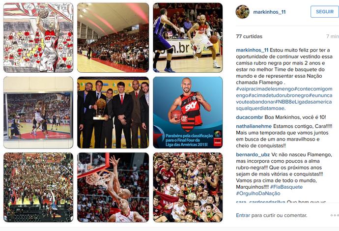 Marquinhos anuncia sua renovação de contrato com o Flamengo (Foto: Reprodução/Instagram)