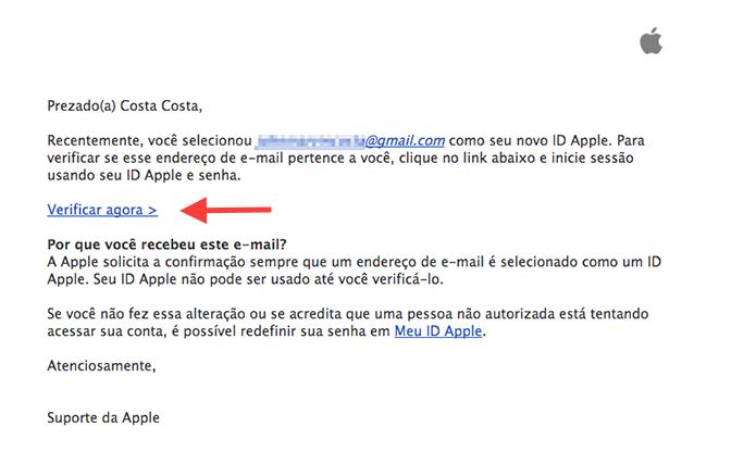 Acessando o e-mail de confirmação enviado pela Apple (Foto: Reprodução/Marvin Costa)