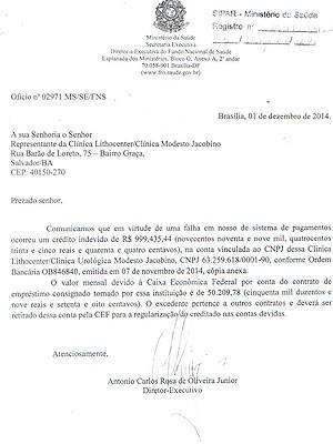 Documento enviado pelo Ministério da Saúde (Foto: Arquivo Pessoal)