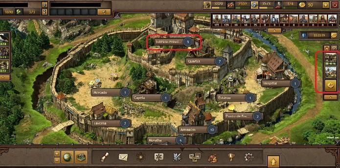 O game se baseia na construção e evolução de novas estruturas e criação de exército (Foto: Reprodução / João Moura)