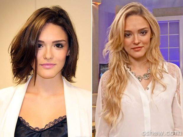 Antes e depois de Isabelle Drummond (Foto: Encontro com Fátima Bernardes/TV Globo)