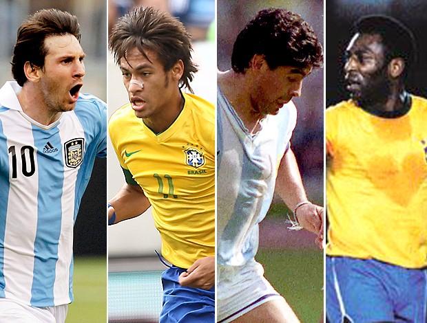 2dc4fcb5d7 montagem Messi Neymar Maradona Pelé Brasil x Argentina 2 (Foto  Editoria de  Arte
