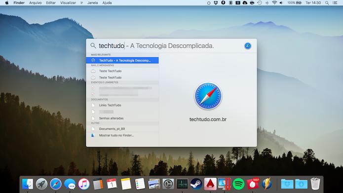 Spotlight faz busca em todos os arquivos do Mac (Foto: Reprodução/Helito Bijora)