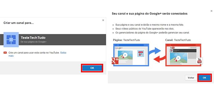 Confirme a conexão da página com a conta do YouTube (Foto: Reprodução/Paulo Alves)