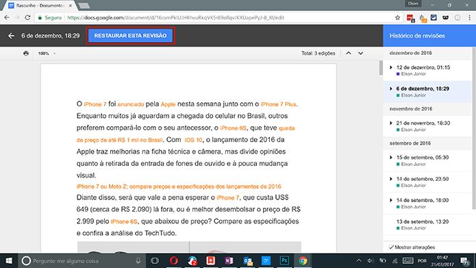 Toque no botão para restaurar a versão mais antiga do Google Docs (Foto: Reprodução/Elson de Souza)