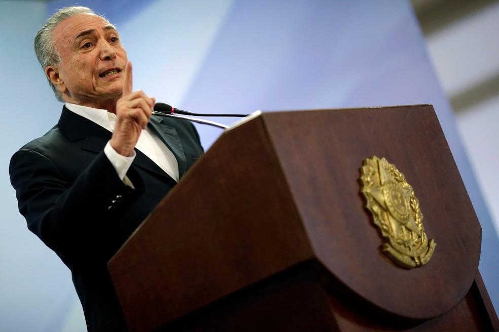 Michel Temer durante pronunciamento no sábado (20), quando repetiu que permaneceria no cargo. (Foto: Ueslei Marcelino/Reuters)