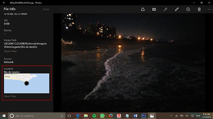 Aplicativo de fotos do Windows 10 mostra localização onde a imagem foi tirada (Foto: Reprodução/Elson de Souza)