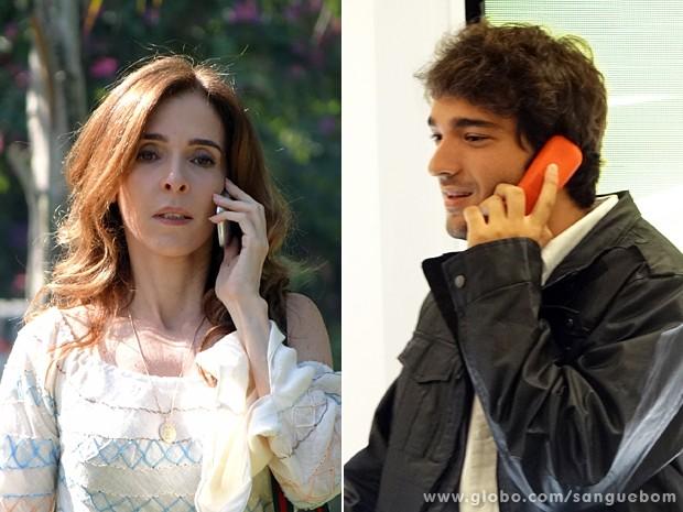 Irene e Fabinho marcam encontro (Foto: Sangue Bom/TV Globo)