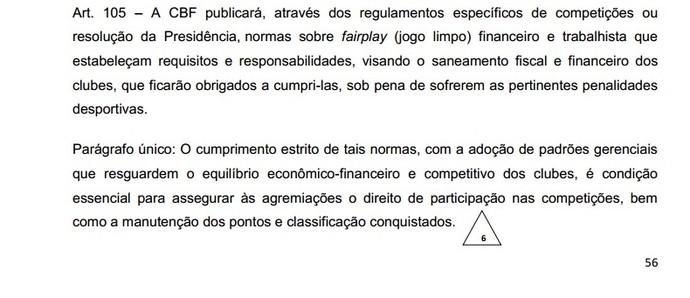 Fair Play financeiro CBF (Foto: Reprodução / Regulamento Geral de Competições da CBF)