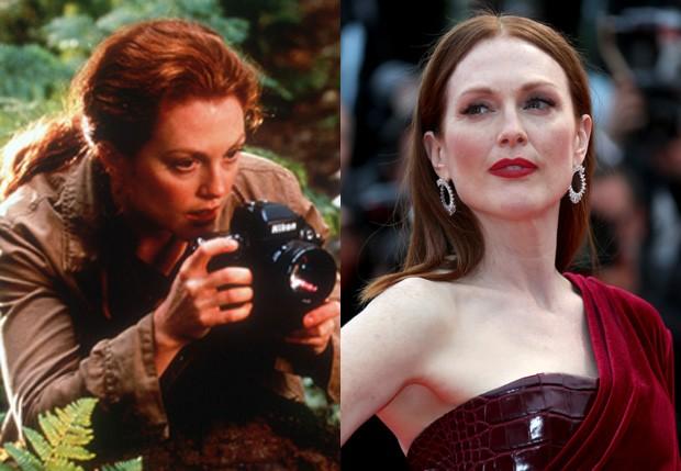 Julianne Moore foi Sarah Harding em 'Mundo Perdido' (2001) (Foto: Reprodução e Getty Images)