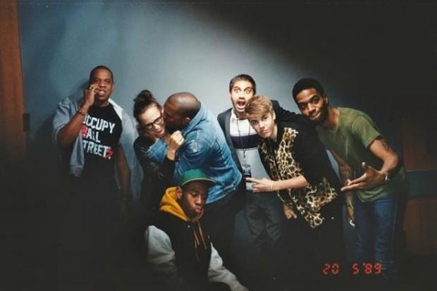 Jay-Z; Rashida Jones; Kanye West; Justin Bieber; Kid Cudi; Tyler, The Creator; e Aziz Ansari (Foto: .)
