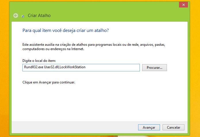 Colocando o comando que bloqueia o Windows (Foto: Reprodução/Edivaldo Brito)