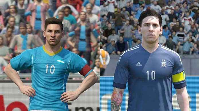 Messi de PES 2016 aparece sem as tatuagens (Foto: Reprodução/Murilo Molina)
