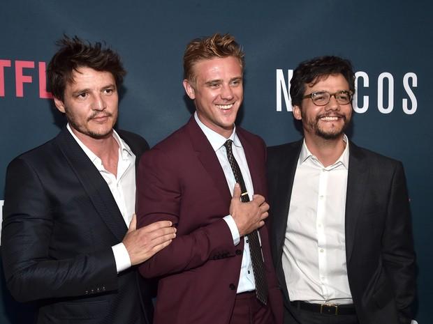 Pedro Pascal, Boyd Holbrook e Wagner Moura em première em Los Angeles, nos Estados Unidos (Foto: Alberto E. Rodriguez/ Getty Images/ AFP)
