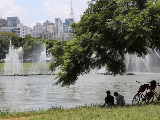 Pessoas se refrescam às margens de lago do parque do Ibirapuera, em São Paulo. A temperatura na cidade chegou a 30ºC nesta quarta-feira (6) (Foto: Renato S. Cerqueira/Futura Press/Estadão Conteúdo)