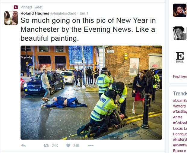 Foto de celebração do Ano Novo em Manchester gerou memes na web (Foto: Reprodução/Twitter/Roland Hughes)