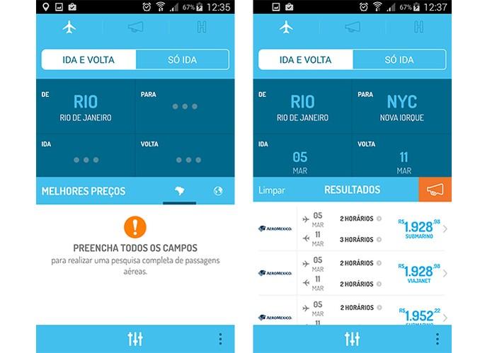 App gratuito Voopter permite adicionar filtros em pesquisas por passagens aéreas (Foto: Reprodução/Barbara Mannara)